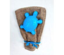 Gant de toilette Fairtrade sable + tortue en plastic