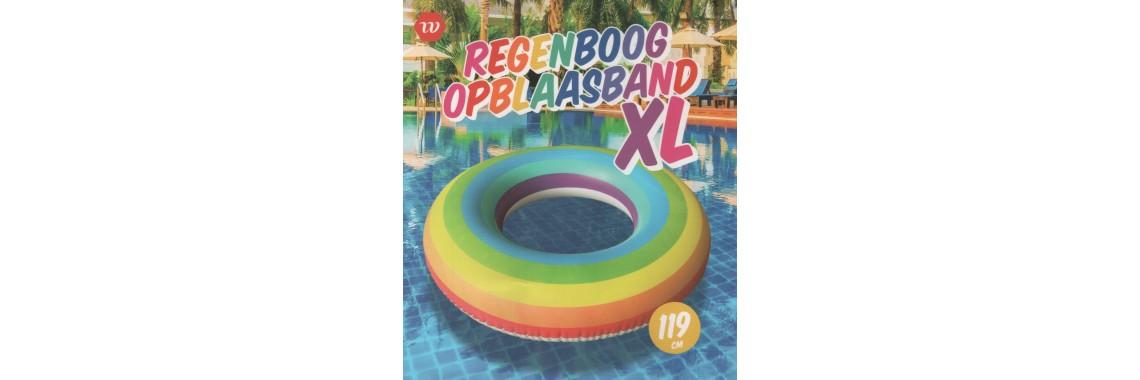 Strandlaken Regenboog met optioneel XL zwemband