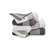 Set de serviettes gris/ blanc