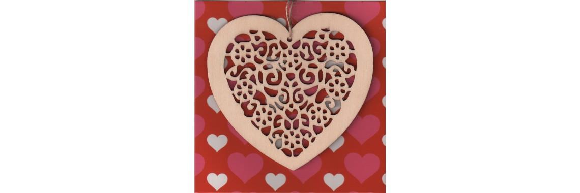 Carte de voeux à petits coeurs